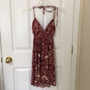 ⭐️ 2/$20 Red Cream Floral Halter Dress